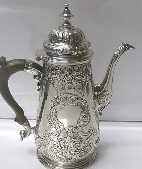3 Mid 1700s silver chocolate pot